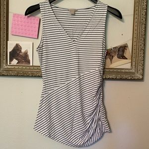 Banana Republic Navy and White Knit Tank Top